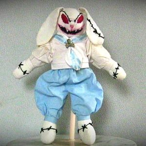 OOAK Evil Plush Bunny Rabbit with Fangs